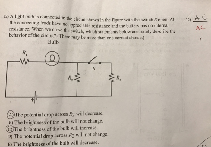 43202ce1423973 the light bulb connected in the circuit in the figure with the A C  connecting leads shown