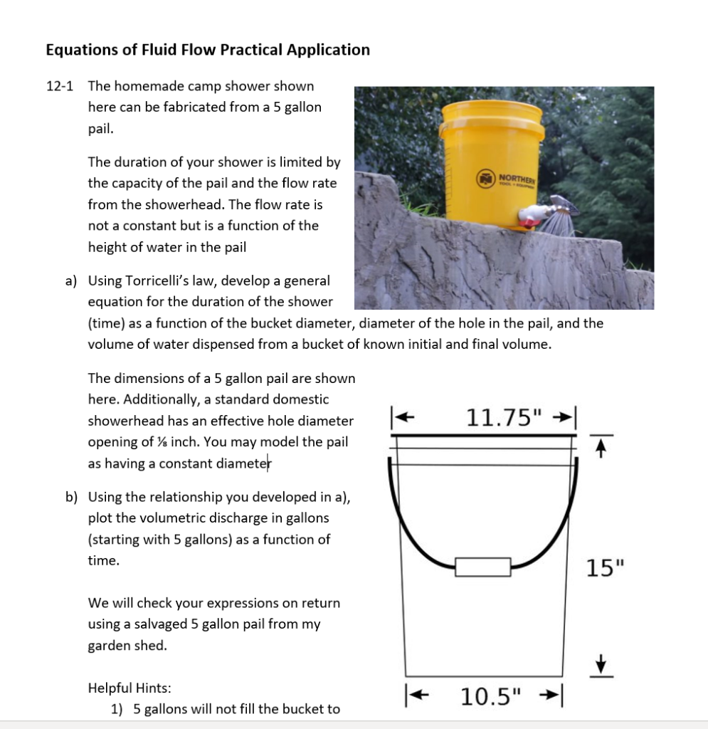 Solved: Helpful Hints: 5 Gallons Will Not Fill The Bucket