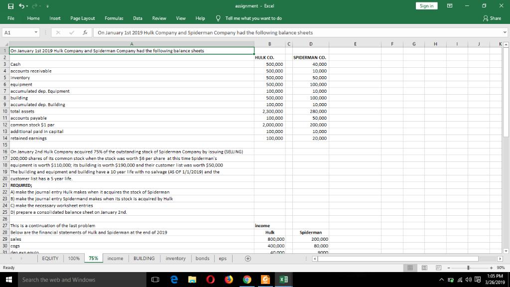 日勺  Assignment - Excel Sign In File Home Insert
