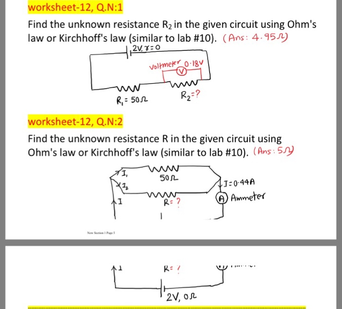 Solved: Worksheet-12, Q.N:1 Find The Unknown Resistance R2 ...