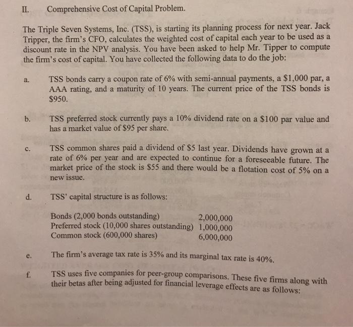 cost of capital mini cases