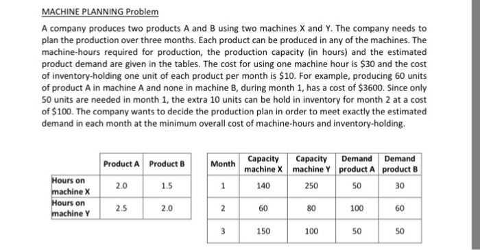 solved machine planning problem a company produces two pr
