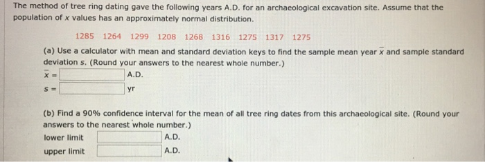 Solved: The Method Of Tree Ring Dating Gave The Following