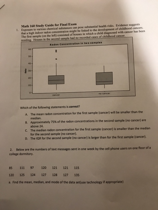 Solved: Math 160 Study Guide For Final Exam Exposure To Va