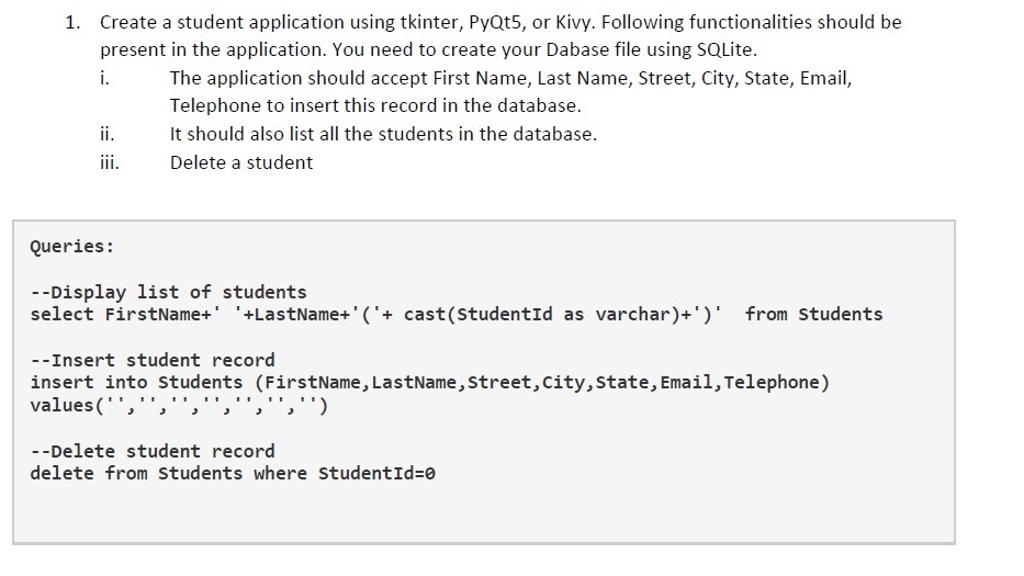 Create A Student Application Using Tkinter, PyQt5