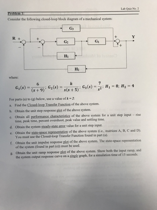 Solved lab quiz no 2 consider the following closed loop lab quiz no 2 consider the following closed loop block diagram of a mechanical ccuart Gallery