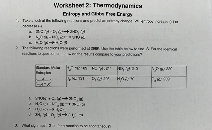 Solved: Worksheet 2: Thermodynamics Entropy And Gibbs Free ...
