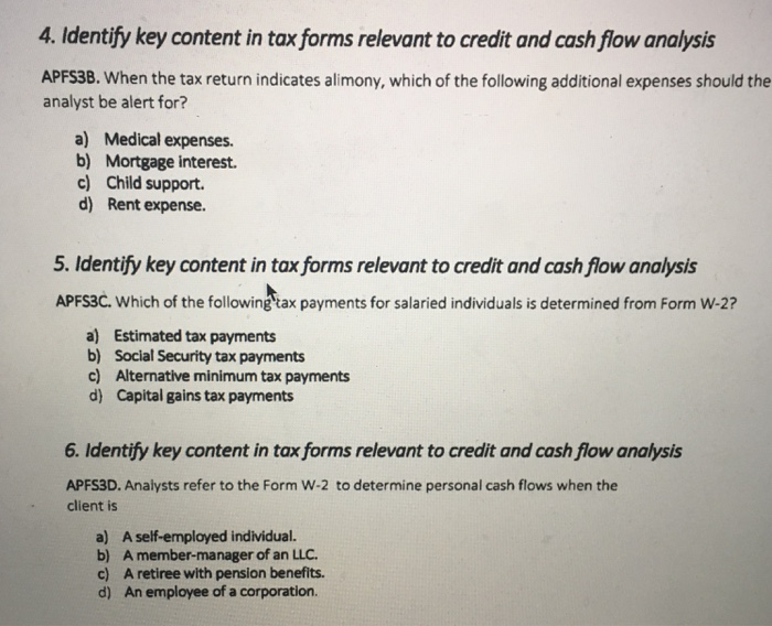 solved 4 identify key content in tax forms relevant to c