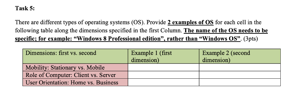 Solved: Task 5: There Are Different Types Of Operating Sys