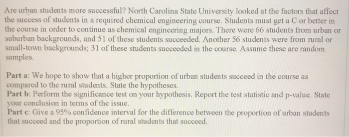 Solved: Are Urban Students More Successful? North Carolina