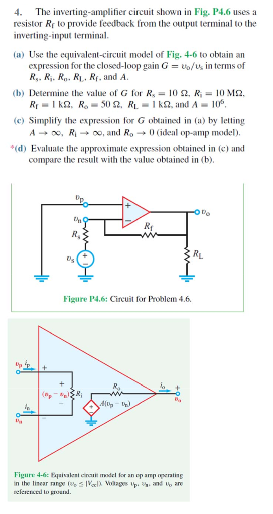 Solved: The Inverting-amplifier Circuit Shown In Fig  P4 6