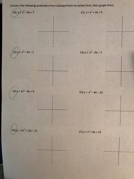 Solved 1 Y X 1 1 Convert The Following Quadratics