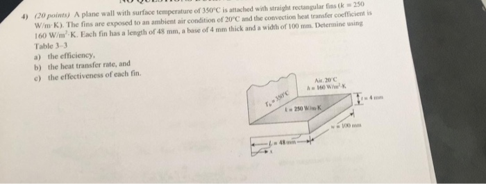 (20 points) A plane wall with surface temperature of 350°C is attached with straight rectangular fins (k 250 W/m K). The fins are exposed to an ambient air condition of 20°C and the convection heat transfer coefficient is 160 W/m2 K. Each fin has a length of 48 mm, a base of 4 mm thick and a width of 100 mm. Determine using Table 3-3 a) the efficiency, b) the heat transfer rate, and c) the effectiveness of each fin 4) Air. 20 C 160 WK -4.0m 100 mn