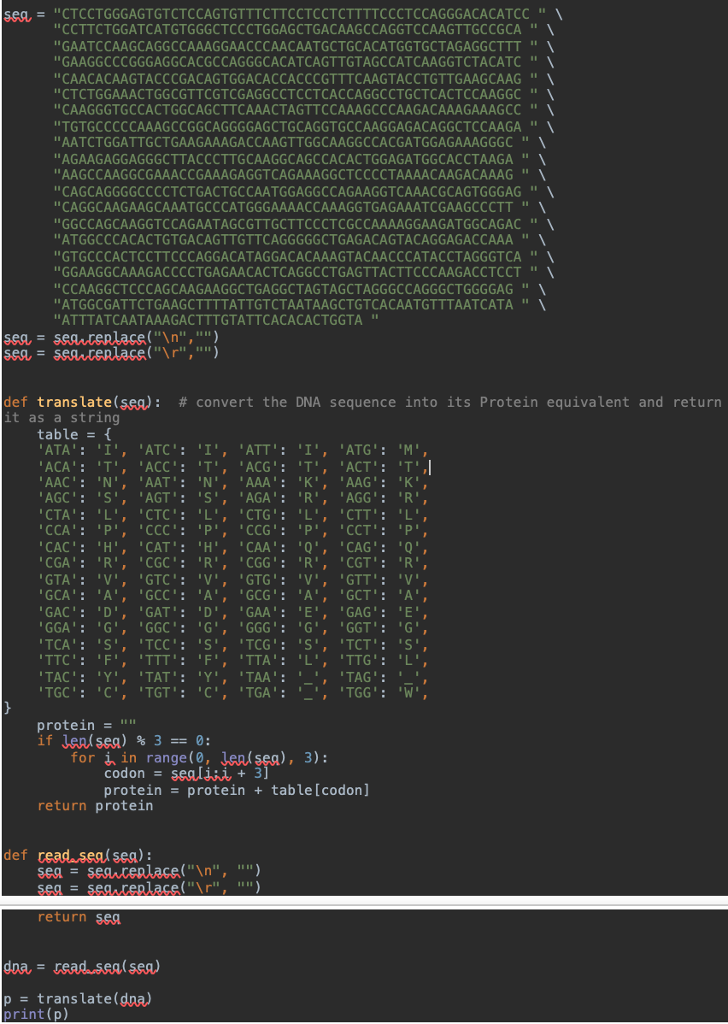 Solved: Here Is My Python Code That Translates DNA To Prot