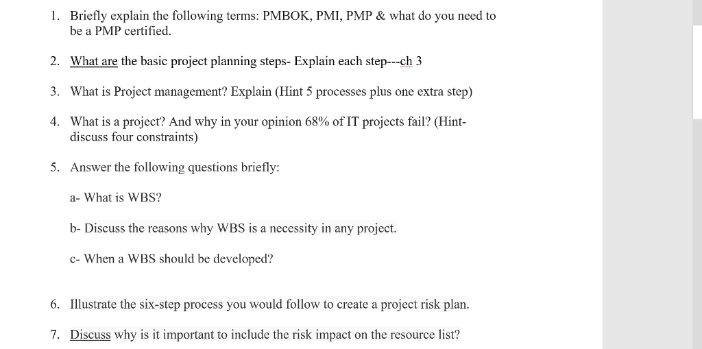 Solved 1 Briefly Explain The Following Terms Pmbok Pmi
