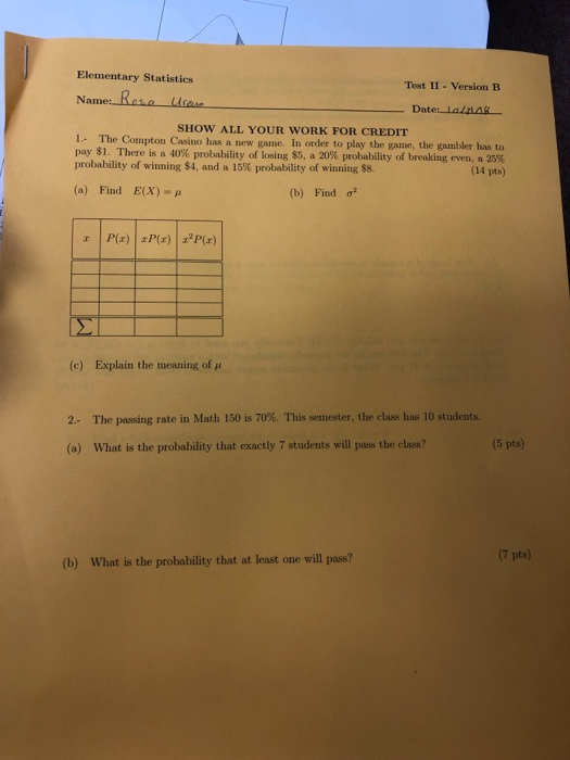 Solved Elementary Statistics Test Ii Version B Name Ra
