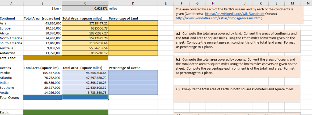 Solved: Compute The Total Area Covered By Land  Convert Th