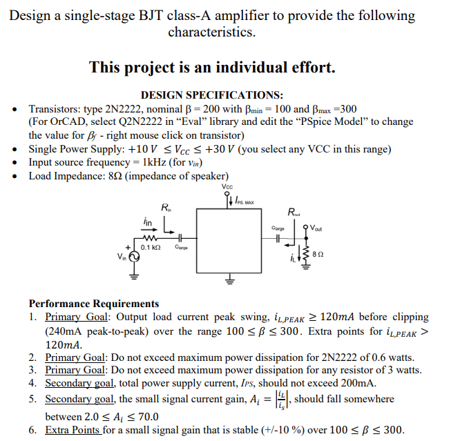 Design A Single-stage BJT Class-A Amplifier To Pro