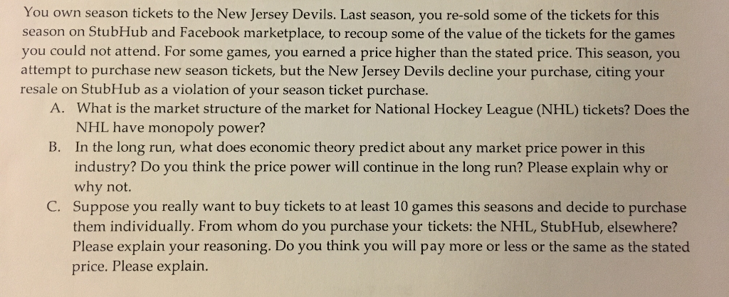 info for 0dd73 8369e Solved: You Own Season Tickets To The New Jersey Devils. L ...