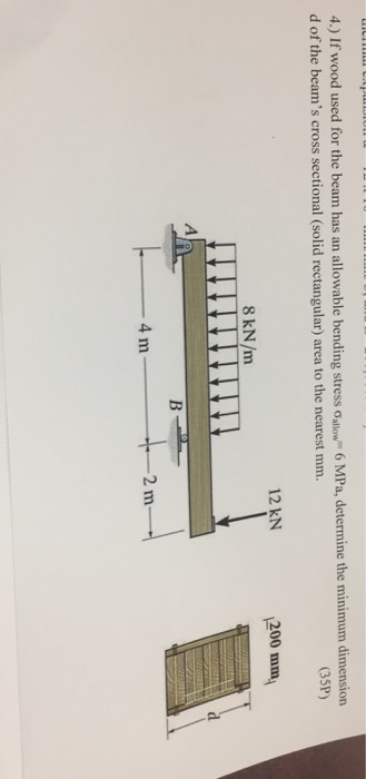 Solved: If Wood Used For The Beam Has An Allowable Bending