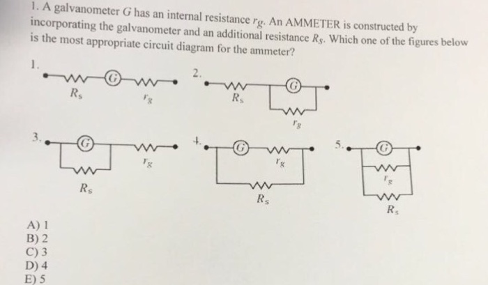 Solved 1 A Galvanometer G Has An Internal Resistance Rg