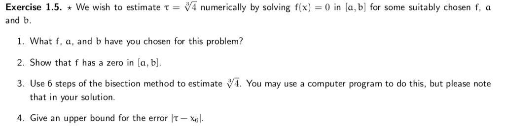 solved exercise 1 5 we wish to estimate τ v 4 numeri