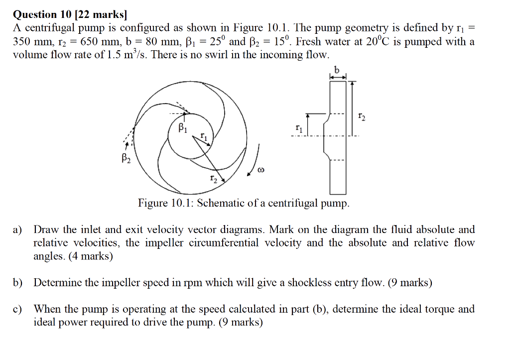 Solved question 10 22 marks a centrifugal pump is confi question 10 22 marks a centrifugal pump is configured as shown in figure 101 ccuart Image collections