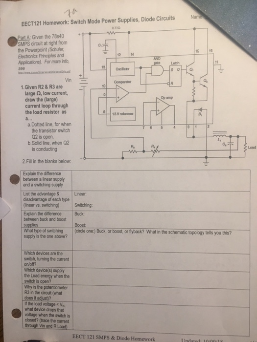 Solved: Nam ЕЕСТ 121 Homework  Switch Mode Power Supplies