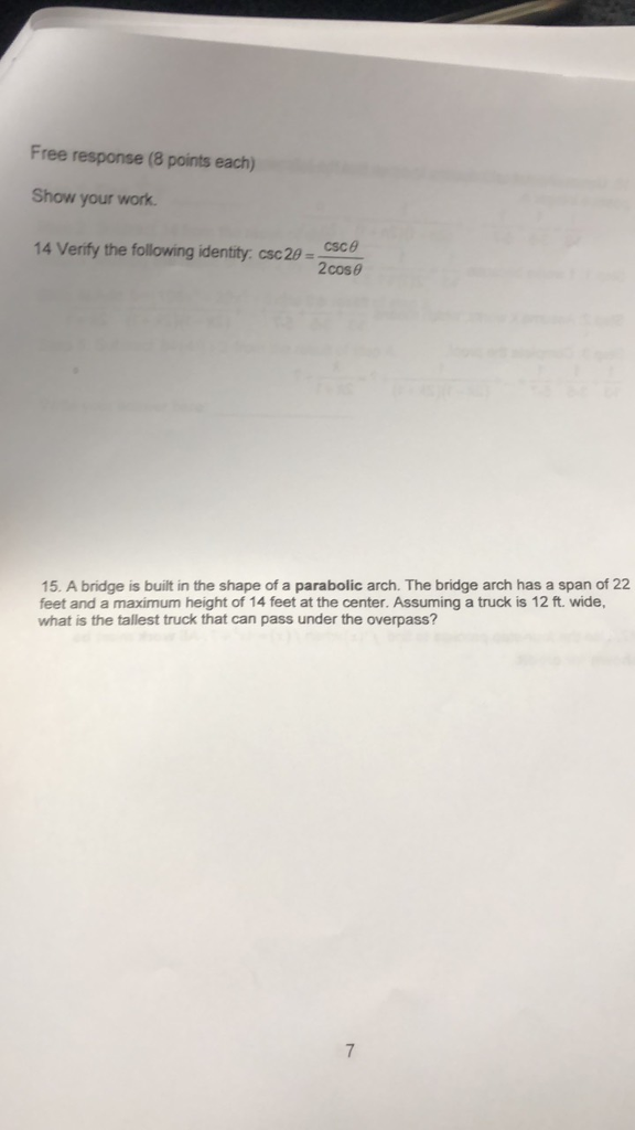Solved: Free Response (8 Points Each) Show Your Work 14 Ve