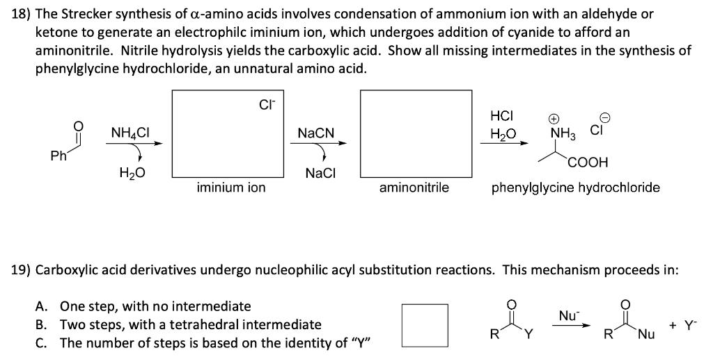 Solved: The Strecker Synthesis Of Alpha‐amino Acids Involv