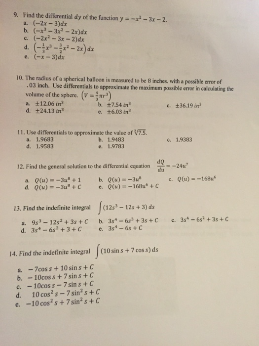 Solved: 9  Find The Differential Dy Of The Function Y---3x
