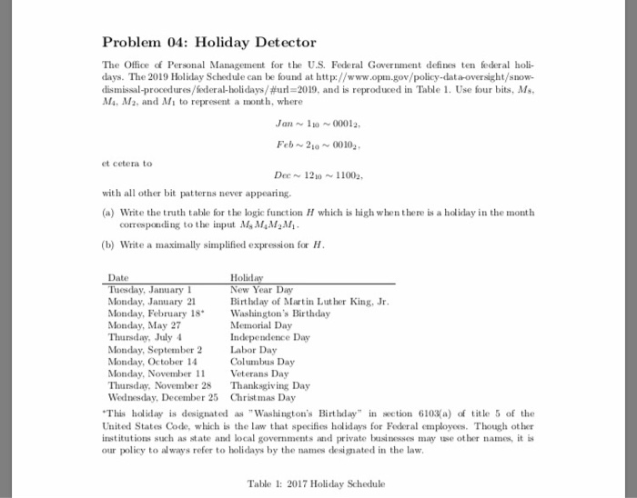 Solved: Problem 04: Holiday Detector The Office Of Persona