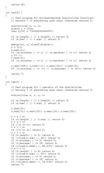 return 62 int test21 Test progran for ainizun/aximus atatistieian functions Returns 7 i2 everything goes okays otherwise retU