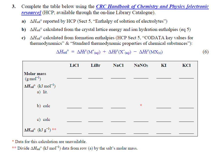 3. Complete the table below using the CRC Handbook of Chemistry and Physics felectronic resourcel (HCP, available through the on-line Library Catalogue) a) AHsol° reported by HCP (Sect 5. Enthalpy of solution of electrolytes) b) AHsol calculated from the crystal lattice energy and ion hydration enthalpies (eq 5) c) AHsol calculated from formation enthalpies (HCP Sect 5, CODATA key values for thermodynamics & Standard thermodynamic properties of c Licl LiBr NaCl NaNO3 KI KCI Molar mass (g mol-1) AHsol (kmol) a) lit b) calc c) calc Data for this calculation are unavailable ** Divide ΔΗ,01° (kJ mol-1) data from row (a) by the salts molar mass