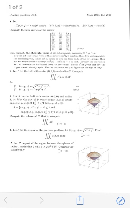 1 Of 2 Practice Problems 13 Le Math 2043 Fall 2017