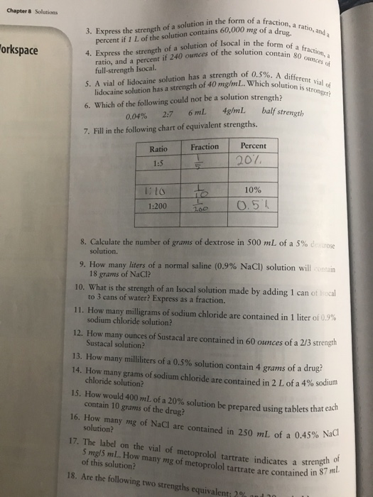 Solved: 3  Express The Strength Of A Solution In The Form