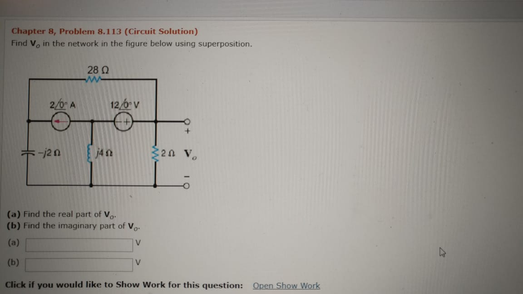 Chapter 8 Problem 8113 Circuit Solution Find