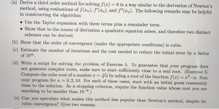 solved a derive a third order method for solving f x 0
