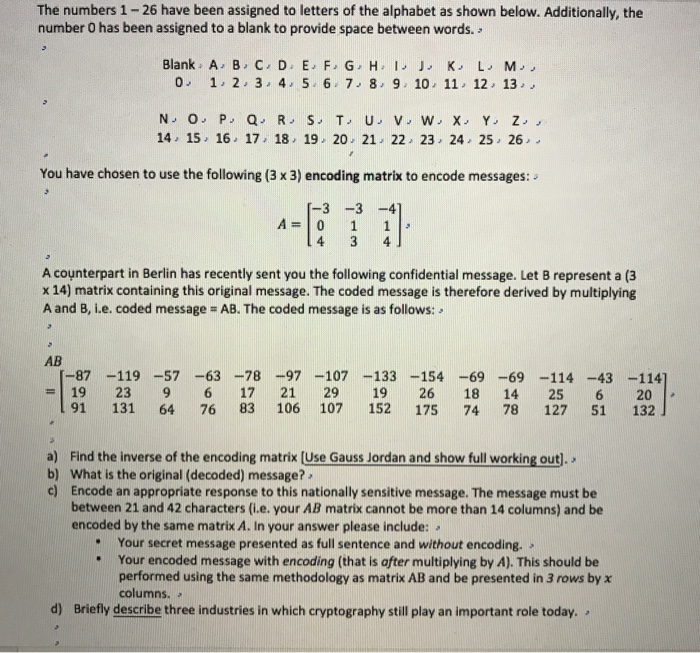Solved: The Numbers 1-26 Have Been Assigned To Letters Of ...
