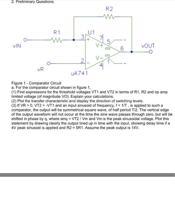 solved 2 preliminary questions r2 r 1 u1 vin vout 2 ua7r2 r 1 u1 vin vout 2 ua741 figure 1