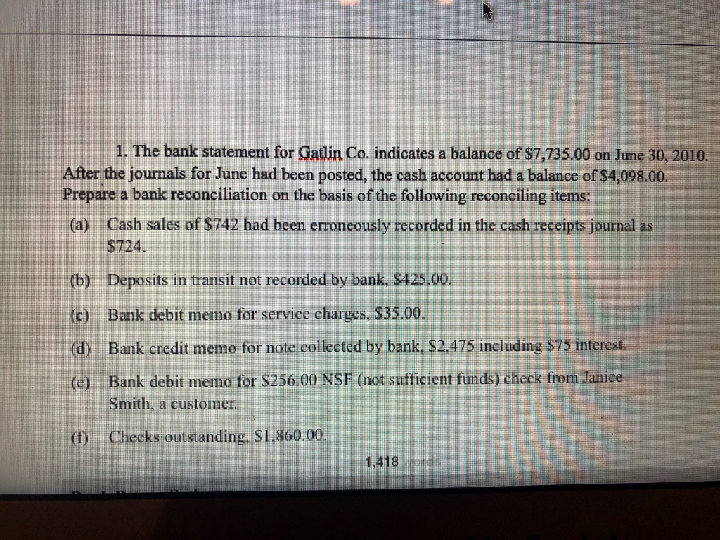 Solved: 1  The Bank Statement For Gatlin Co  Indicates A B