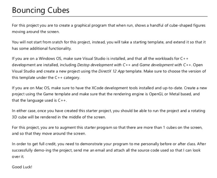 Bouncing Cubes For This Project You Are To Create