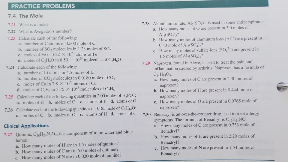 Solved Practice Problems 7 4 The Mole 7 21 What Is A Mole