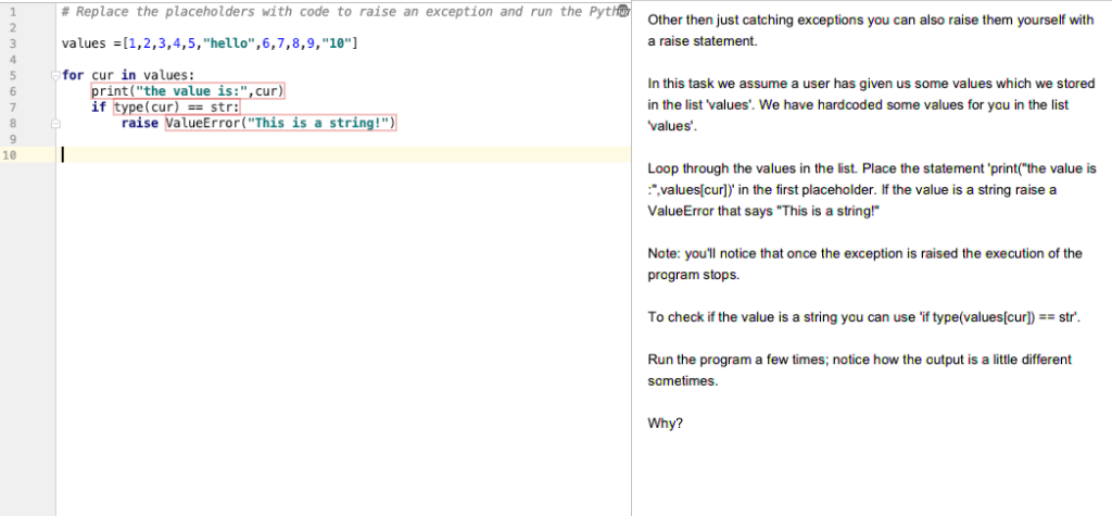 Solved: # Replace The Placeholders With Code To Raise An E