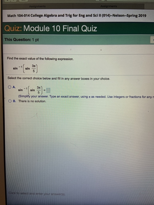 Solved: Math 104-014 College Algebra And Trig For Eng And