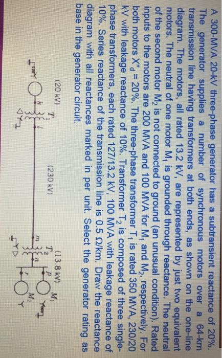 Solved: A 300-MVA 20-kV Three-phase Generator Has A Subtra ...