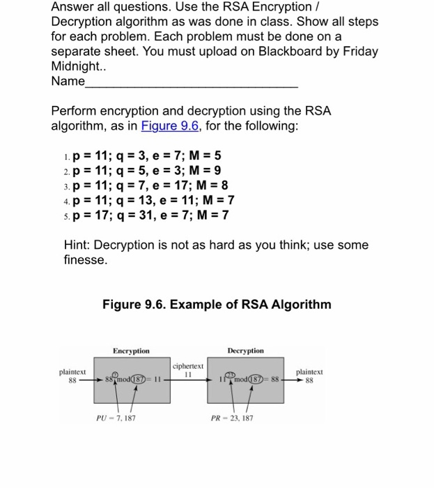 Solved: Perform Encryption And Decryption Using The RSA Al