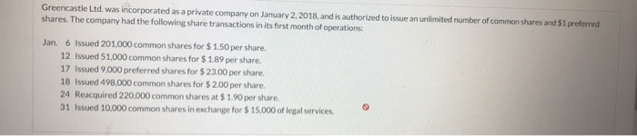 Greencastle Ltd. was incorporated as a private company on January 2, 2018, and is authorized to issue an unlimited number of common shares and $1 preferred shares. The company had the following share transactions in its first month of operations: Jan. 6 Issued 201,000 common shares for $1.50 per share. 12 Issued 51.000 common shares for $ 1.89 per share. 17 Issued 9,000 preferred shares for $ 23.00 per share 18 Issued 498,000 common shares for $2.00per share. 24 Reacquired 220,000 common shares at $ 1.90 per share. 31 Issued 10,000 common shares in exchange for $15,000 of legal services