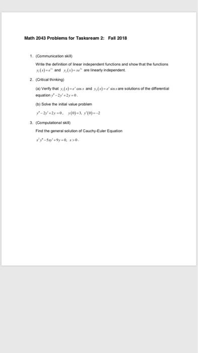 Solved: Math 2043 Problems For Tasksream 2: Fal 2018 (Comm
