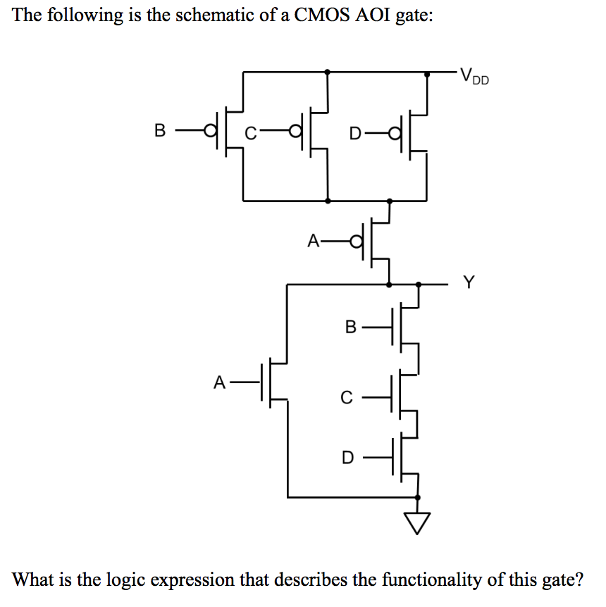 Solved: The Following Is The Schematic Of A CMOS AOI Gate ...